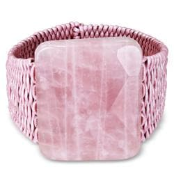 Miadora Pink Leather Cord Rose Quartz Cuff Bracelet