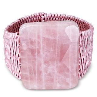 Miadora Pink Leather Cord Rose Quartz Cuff Bracelet