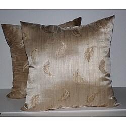 RLF Home Wispy Leaf Sand Decorative Pillows (Set of 2)