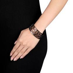 Miadora Stainless Steel Openwork Cuff Bracelet