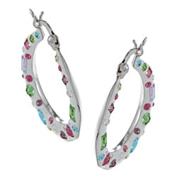 La Preciosa Sterling Silver Crystal Hoop Earrings