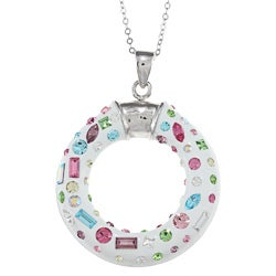 La Preciosa Sterling Silver Crystal Circle Necklace