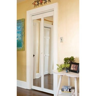 907 Traditional Natural Pine Mirror Unfinished Bi-fold Doors