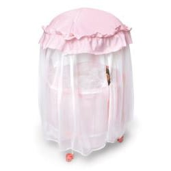 Badger Basket Pink-gingham/White Royal Pavilion Round Doll Crib Set