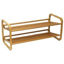 Oceanstar Two-Tier Slatted-Shelf Bamboo Shoe Rack