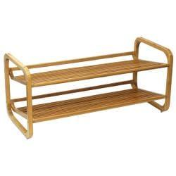 Oceanstar Two Tier Slatted Shelf Bamboo Shoe Rack