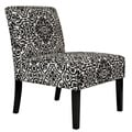 angelo:HOME Bradstreet Black and White Damask Upholstered Armless Chair