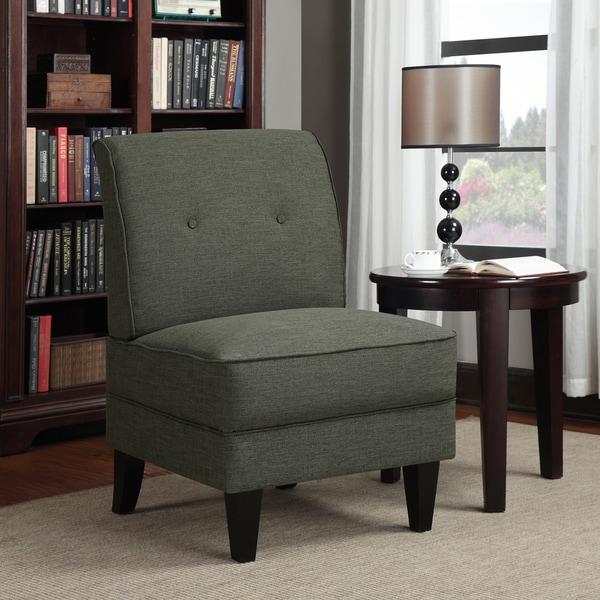 Portfolio Engle Charcoal Gray Linen Armless Chair