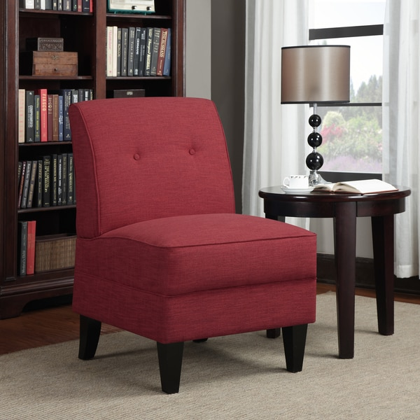 Portfolio Engle Sunset Red Linen Armless Chair