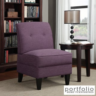 Portfolio Engle Amethyst Purple Linen Armless Chair