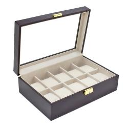 Executive Dark Brown 10-Watch Storage Case