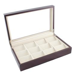 Caddy Bay Collection Brown Leatherette 12-Pocket Watch Display Case