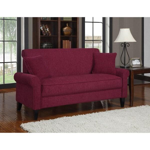 Portfolio Harper Crimson Red Chenille Sofa