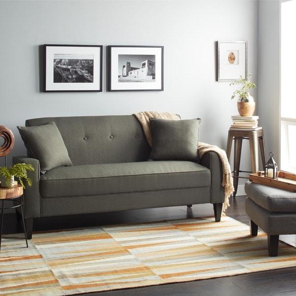 Portfolio Ellie Charcoal Gray Linen Sofa