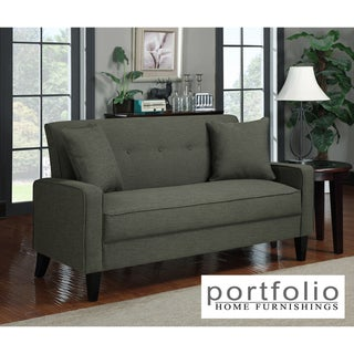 Portfolio Ellie Charcoal Gray Linen Sofa
