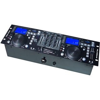 Pyle Rack Mount Professional Dual DJ Controller W/ Scratch, Loop, Mixer, USB/SD
