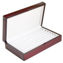 Rosewood 6-Ring Row Jewelry Display Case