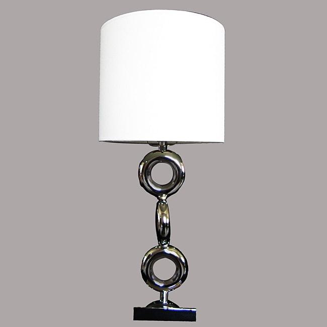 Taj Modern Chrome Metal/White Table Lamp