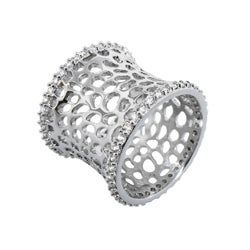 Moise Plated Cubic Zirconia Cut-out Textured Band