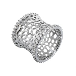 Plated Cubic Zirconia Cut-out Textured Band