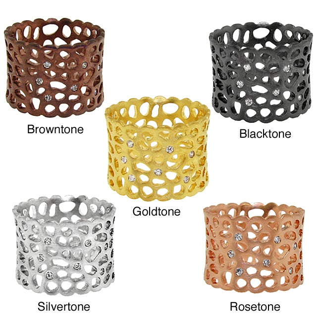 Color-plated Cubic Zirconia Cut-out Textured Band