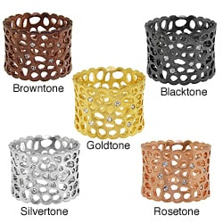 Moise Color-plated Cubic Zirconia Cut-out Textured Band
