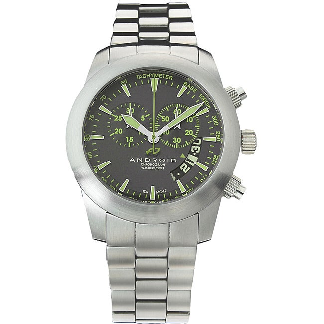 Android Men's 'Mantis' Green Markers Stainless Steel Bracelet Watch