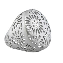 Moise Color-plated Cubic Zirconia Cut-out Flower Dome Band