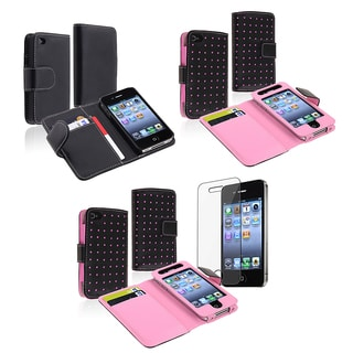 INSTEN Black/ Pink Dot Wallet Leather Phone Case Cover for Apple iPhone 4/ 4S