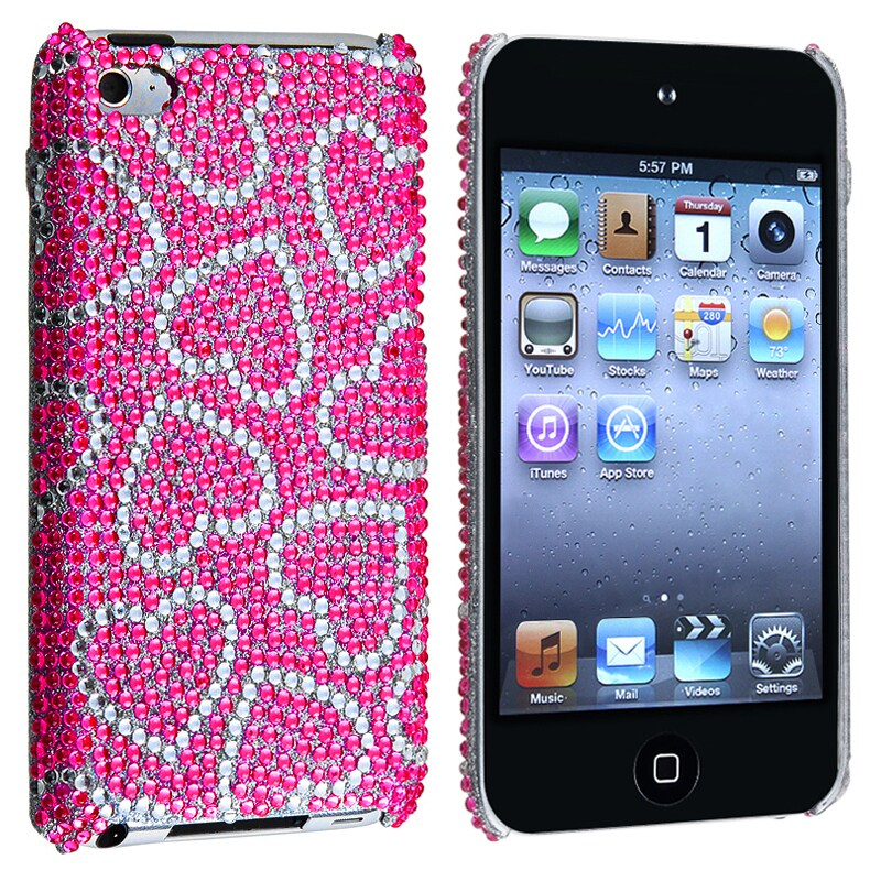INSTEN Pink/ White Heart Bling Rear Snap-on iPod Case Cover for Apple iPod Touch 4th Gen