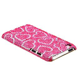 Pink/ White Heart Bling Rear Snap-on Case for Apple iPod Touch 4th Gen