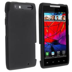 Black Snap-on Rubber Coated Case for Motorola Droid RAZR XT910/ XT912