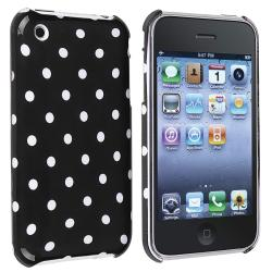 Black with White Dot Snap-on Case for Apple iPhone 3G/ 3GS
