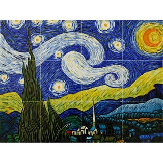 Vincent Van Gogh, 'Starry Night' Hand-painted Mural Wall Tiles (Pack of 12)