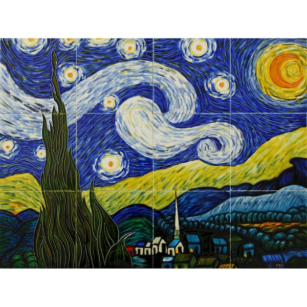 Vincent van gogh 39 starry night 39 hand painted mural wall for Mural van gogh