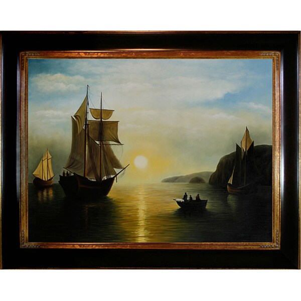 William Bradford, 'A Sunset Calm in the Bay of Fundy' Hand-painted Canvas Art 8792376