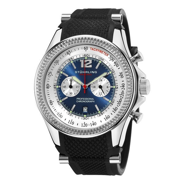 Stuhrling Original Men's Targa Sport Quartz Chronograph Watch with Rubber Strap
