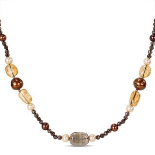 Miadora Sterling Silver Multi-colored Gemstone and Pearl Necklace (12 mm)