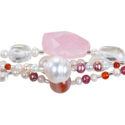 Miadora Freshwater White and Pink Pearl, Agate and Quartz Bracelet (9-12 mm)