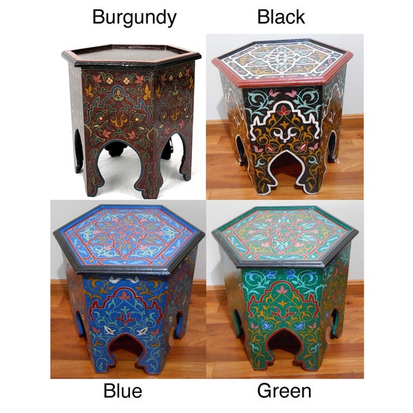 Handpainted Burgundy Arabesque II Wooden End Table (Morocco)