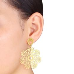 Miadora Gold Overlay Flower Dangle Earrings