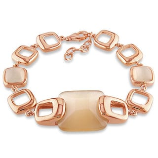 Miadora  Rose-plated Silver Synthetic Cat's Eye Link Bracelet