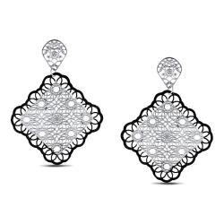 Miadora Stainless Steel Filigree Flower-style Dangle Earrings