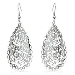 Miadora  Stainless Steel Openwork Rose Design Dangle Earrings