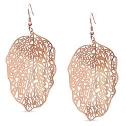 Miadora  Rose-plated Stainless Steel Openwork Leaf Design Earrings