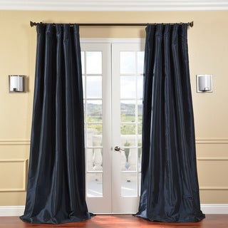 Solid Faux Silk Taffeta Navy Blue 120-Inch Curtain Panel