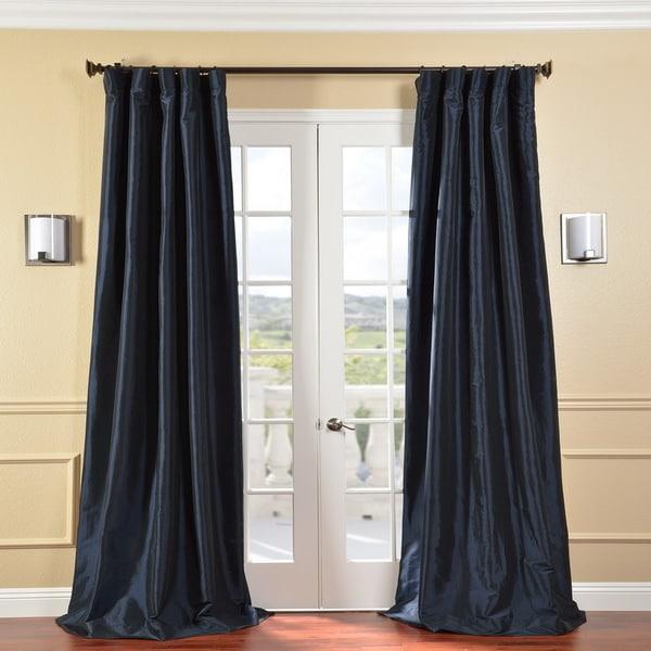 EFF Solid Faux Silk Taffeta Navy Blue 120-Inch Curtain Panel