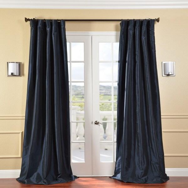 Exclusive Fabrics Solid Faux Silk Taffeta Navy Blue 120-Inch Curtain Panel