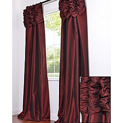 Ruched Header Syrah Embroidered Faux Silk Taffeta 50 x 84-inch Curtain Panel