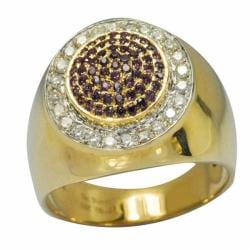 De Buman 10k Gold Men's Garnet and 2/5ct TDW Diamond Ring (K-L, I1)
